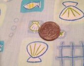 Blue ocean fish seashell fabric