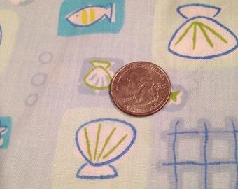 Blue ocean fish seashell fabric