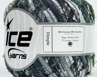 dimple ice yarns long butterfly black grey white gray shades lurex metallic ribbon 50gr  worsted USA 37586