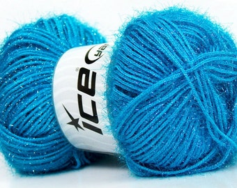 ice yarns sparkle lurex blue turquoise sparkly fuzzy soft 100gr 1 skein knitting shimmering sparkly material shipping at usps cost 35785