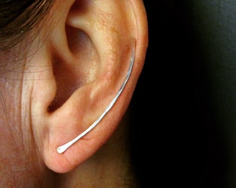 Ear Climber - Sterling Silver Hand Cut, Formed and Finished
