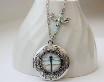 Dragonfly Locket Necklace in Antique Silver