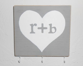 key rack personalized wood hook sign monogram