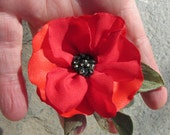 Red Poppy Pin (For Dress), Small Brooch, Great Gift, Regular Mail
