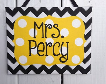 Chevron black and yellow teacher classroom door sign, classroom door decoration, teacher door hanger, teacher gift