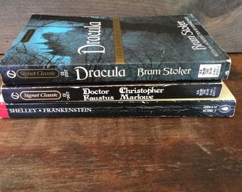 Vintage Paperbacks, Dracula, Doctor Faustus, Frankinstein, Classics, Gothic Books, Book Decor, Literature, Halloween