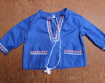 Swedish Childs Blouse Blue Shirt Size 86 Girls 12 months Heart trim VINTAGE by Plantdreaming