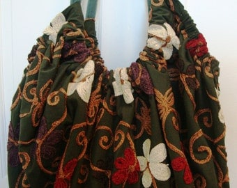 Giant Hoito Bag - Dark green with crewel embroidery