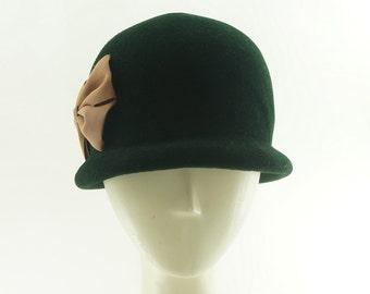 Forest Green BOWLER HAT / Dark Green Fur Felt Hat / Handmade by Marcia Lacher Hats