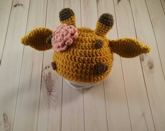 Ready to ship Crochet Giraffe Hat, Baby Giraffe Hat, Newborn Giraffe Hat, Baby Girl, Crochet baby hats