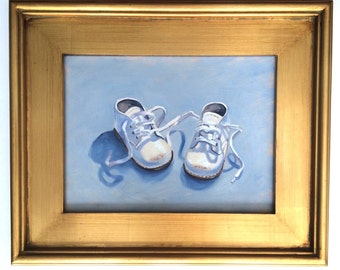Reserved for Ginny. Together, 9 x 12 inch framed oil original oil painting on canvas Yvonne Wagner. Baby shoes. Reserved.
