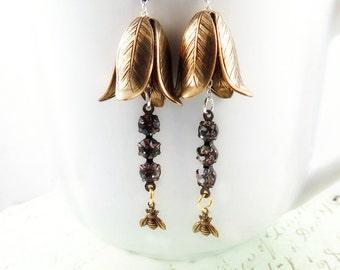 Tulip Earrings, Bee Earrings, Flower Jewelry, Dangle Earrings, Rhinestone Earrings, Wedding Earrings, Vintage Style