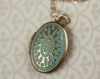 Small Blue Locket Necklace, Ornate Turquoise Locket, Long Oval Locket, Blue Necklace, Turquoise Necklace Small Locket Pendent