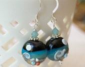 Beach Jewelry, Seashell Earrings, Glass Bead Earrings, Wave Earrings, Beach Earrings, Lampwork Glass Earrings, Blue Earrings