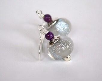 Silver Glitter Earrings, Lampwork Glass Earrings, Glass Bead Earrings, Sparkling Earrings, Glam Earrings