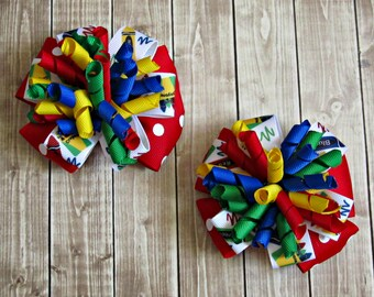 Girls School Bows- Red Blue Green Yellow- Baby Bows- Toddler Bows- Pigtail Bows- Back To School- Set of Two