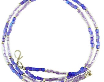 Periwinkle & lavender beaded break away lanyard, necklace, and more