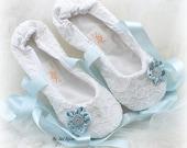 Ballet Flats, Wedding Flats, White, Light Blue, Lace Flats, Elegant Wedding, Bridal Shower, Vintage Style, Something Blue, Wedding Shoes