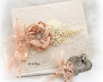 Guest Book, Blush, Ivory, Blank Pages, Linen Guest Book, Shabby Chic, Vintage Wedding, Anniversary, Elegant, Pen,Sign In Book,Signature Book