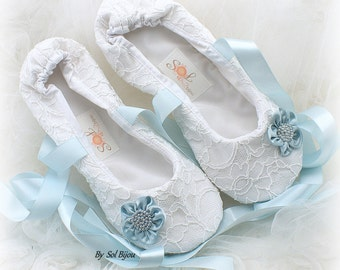 Ballet Flats, Wedding Flats, White, Light Blue, Lace Flats, Elegant Wedding, Bridal Shower, Vintage Style, Something Blue, Wedding Shoes