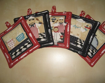 Set of 5 Potholders,Heat resistant,kitchen,chef,cooking,baking,cream,black,brown,red