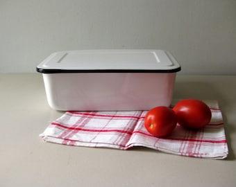 Vintage enamel refrigerator box White and black enamel box with lid