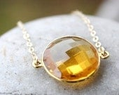 CLEARANCE SALE Gold Yellow Citrine Quartz Gemstone Necklace - Birthstone Necklace - 14KT Gold Fill