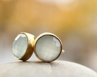 25% OFF Aqua Chalcedony Gemstone Stud Earrings - Round Post Earrings