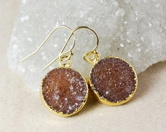 50% OFF Round Druzy Dangle Earrings – Choose Your Druzy – 14k Gold Fill/925 Sterling Silver