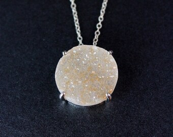 50% OFF Large Statement Druzy Necklace - Circular Stone