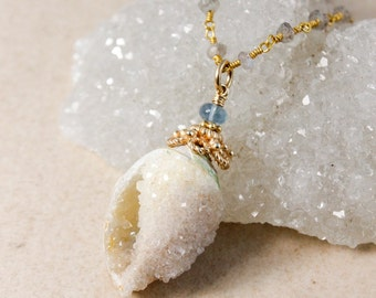 Blue Fluorite & Fossilized Druzy Seashell Necklace - Blue Labradorite Chain - Long Necklace