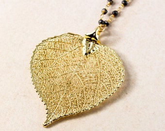 Gold Dipped Aspen Leaf Necklace on Black Pyrite Chain - Layering Necklace