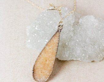 50 OFF SALE Champagne Teardrop Druzy Necklace – Choose Your Druzy – 14K Gold Filled Chain