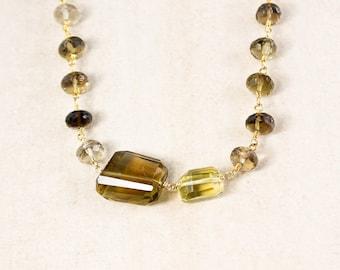 Smokey Quartz Beaded Necklace – Citrine Tumbled Stone