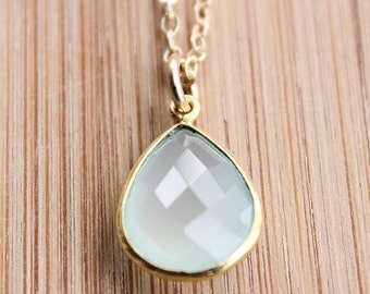 MOTHERS DAY SALE Gold Aqua Chalcedony Necklace - Teardrop Necklace - 14Kt Gold Fill