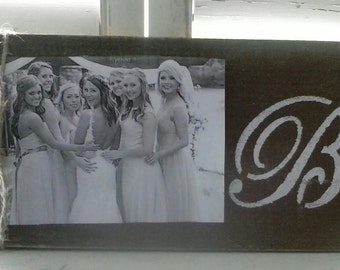 Custom Monogram / Initial Wood Board Picture Frame Great for Weddings Bridesmaids and More