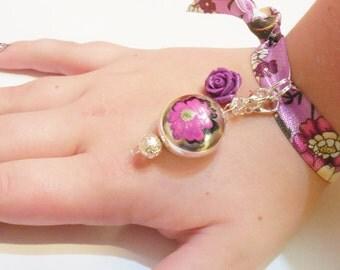 RIBBON Wrap Charm Bracelet Purple Flower Rose Silver Plated Jewelry