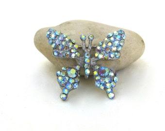 vintage rhinestone butterfly  pin  ...  costume jewelry  ...  brilliant blue brooch