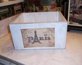 Paris storage box,French Farmhouse,Paris decor,Paris theme,French rustic,French wedding decor,shabby chic decor,French decor
