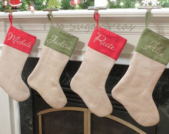 Linen Stocking Personalized Stocking Personalized Christmas Stocking Custom Stocking Family stocking set