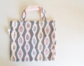 Cotton tote bag - Aztec Stripe - original textile- charcoal gray