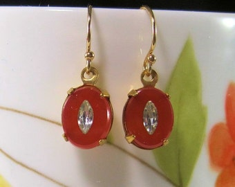 Art Deco Carnelian Glass Earrings - Downton Abbey - Victorian