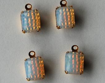 Vintage Glass Opals 4 Pin Fire Opal Octagon Brass Pendant Beads 9x6.5mm