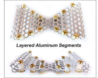 "Metal Neck Bow Tie, Layered Aluminum Segments, Perforated 3/16"" (5 mm) Holes"