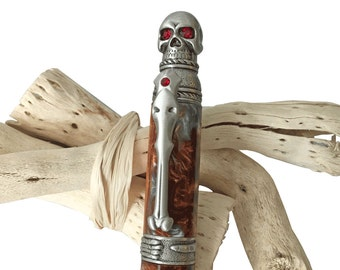 Handcrafted Gothic Skull Pen | Pewter finish with Molten Metal Acrylic | by CraftCrazy4U
