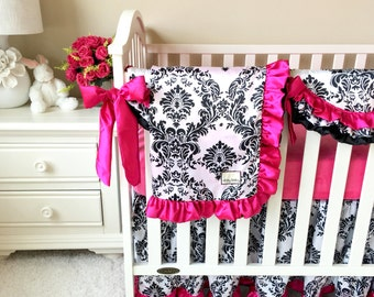Black and White Damask and Hot Pink Minky Crib Bedding SWATCH SET