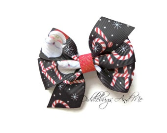 Santa Hair Bow, Black Holiday Bow, Girls Hair Bow, Christmas Hair Bow, Piggy Tail Hair Bows For Girls, Hair Bow For Holidays, Ho Ho Ho Bow