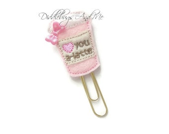 Pink Latte Planner Clip, Love You A Latte Bookmark, Felt Paper Clip, Accessory For Planners, Organizer Clip, Stationary, Bookmark Clip