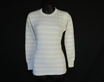 vintage ladies thermal shirt 80s pastel striped Hanes fitted winter blouse small new old stock