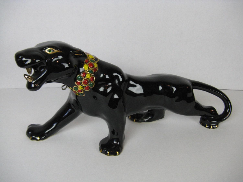 Black panther figure sleek ceramic cat stalking panther - Ceramic black panther statue ...